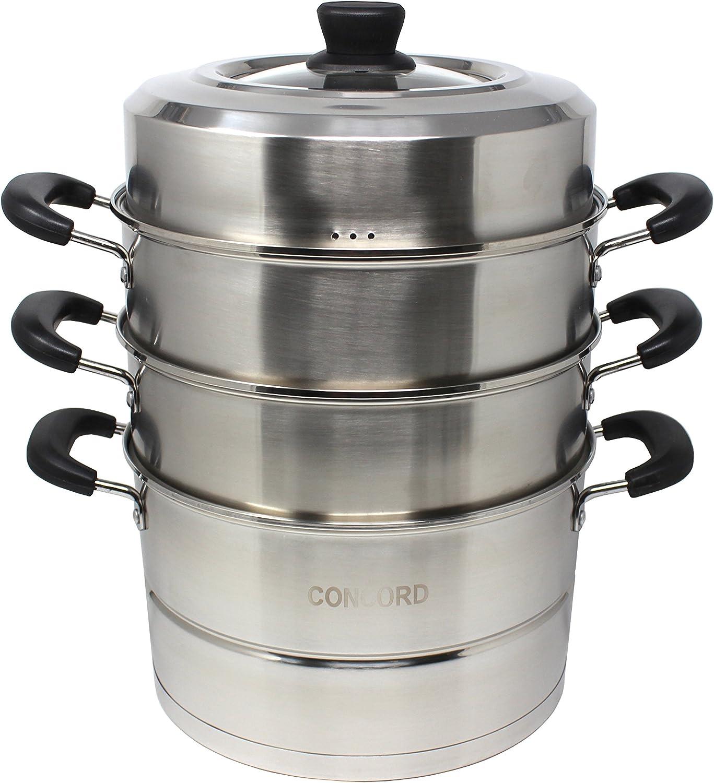 CONCORD 3 Tier Premium Stainless Steel Steamer Set (32 CM)
