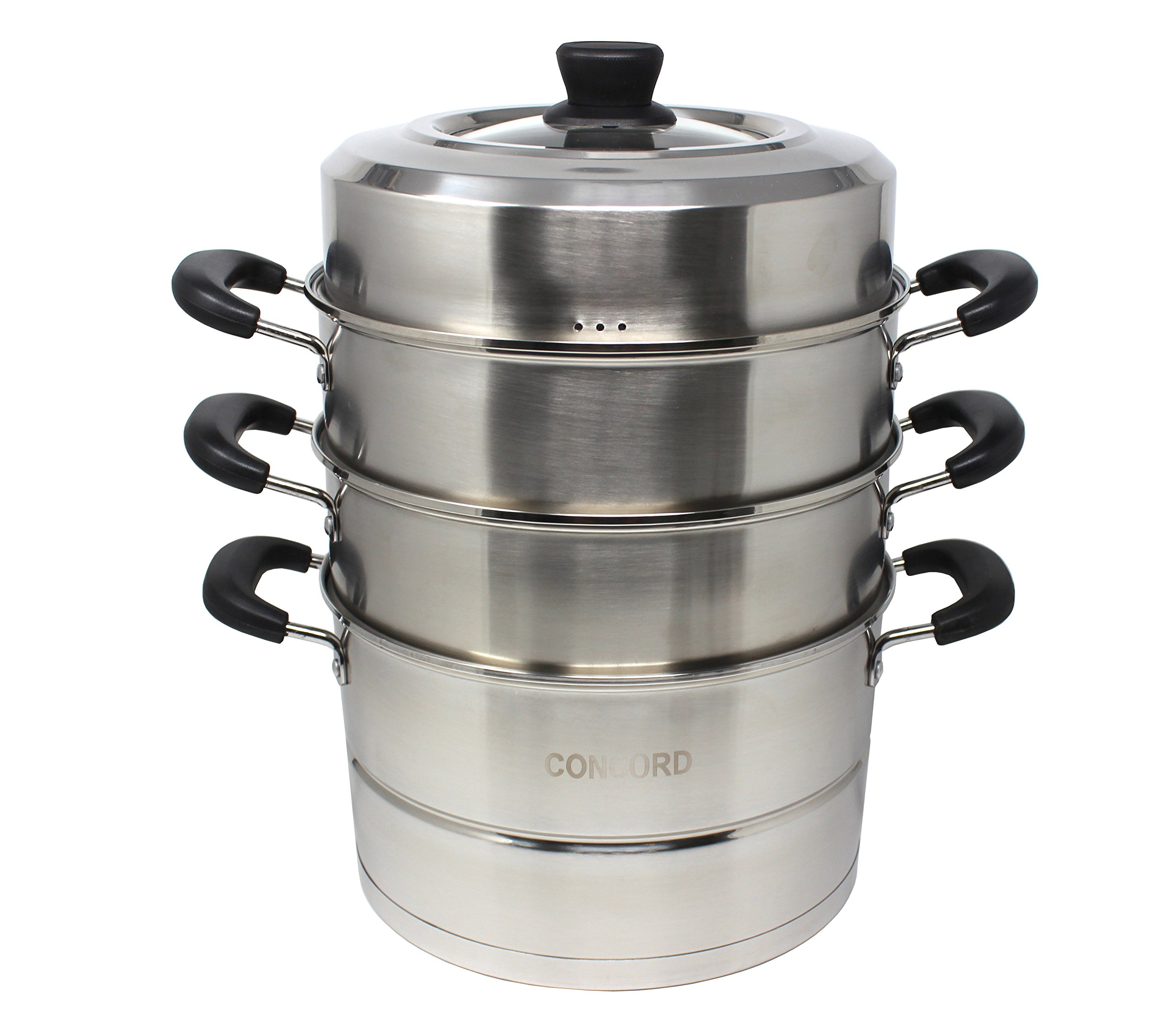 CONCORD 3 Tier Premium Stainless Steel Steamer Set (30 CM)