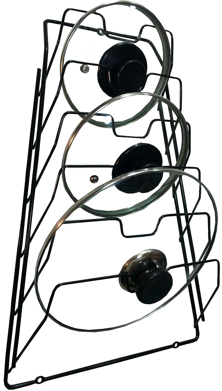 Wall Pot Lid Rack Holder Organizer for Kitchen, Cabinet (Black)