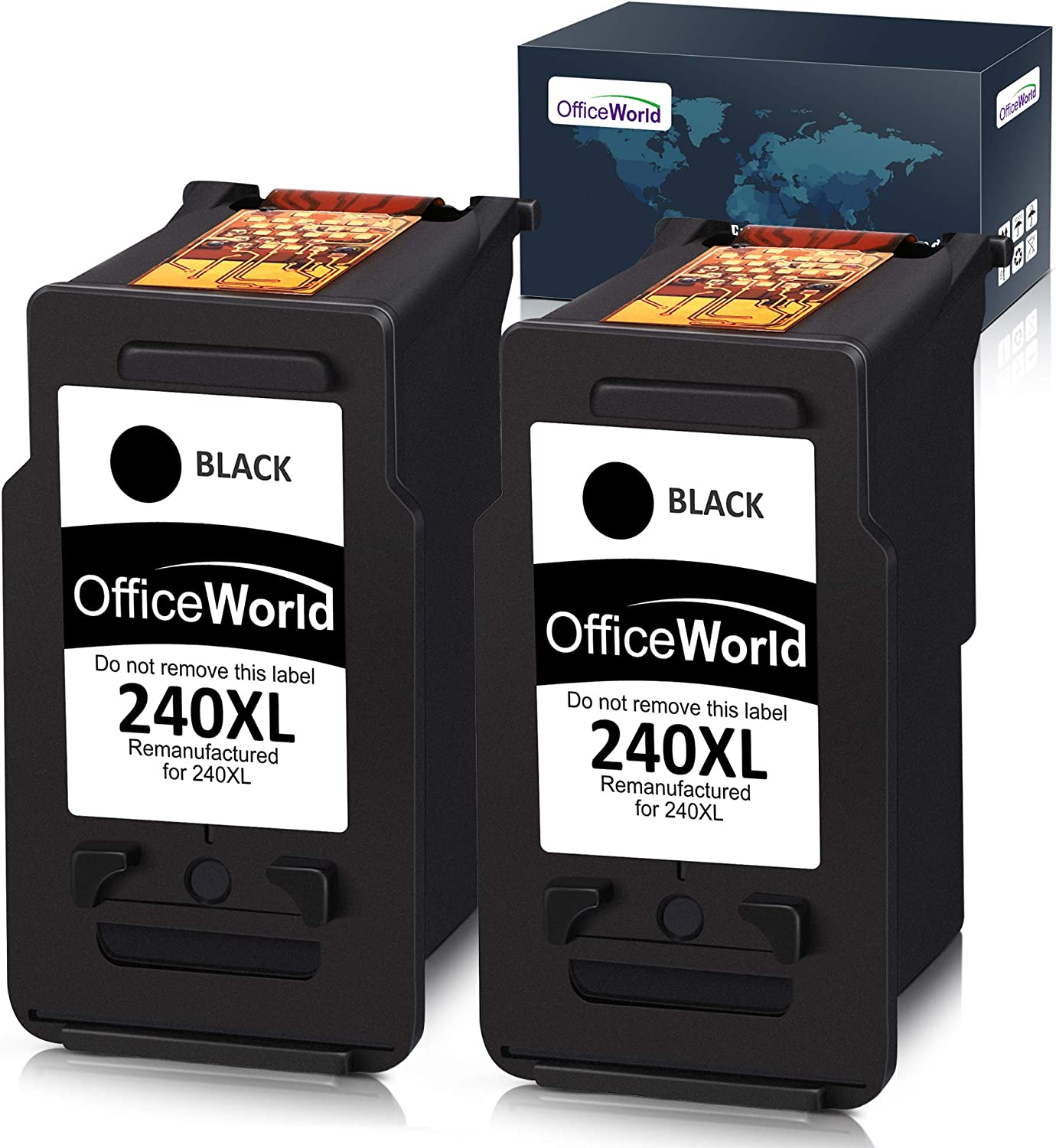 OfficeWorld Remanufactured Ink Cartridge Replacement for Canon PG-240XL 240 XL for Canon Pixma MG3620 MX472 MX452 MG3220 MG3520 MG2220 MX532 MX392 MX432 MX512 (Black, 2-Pack)