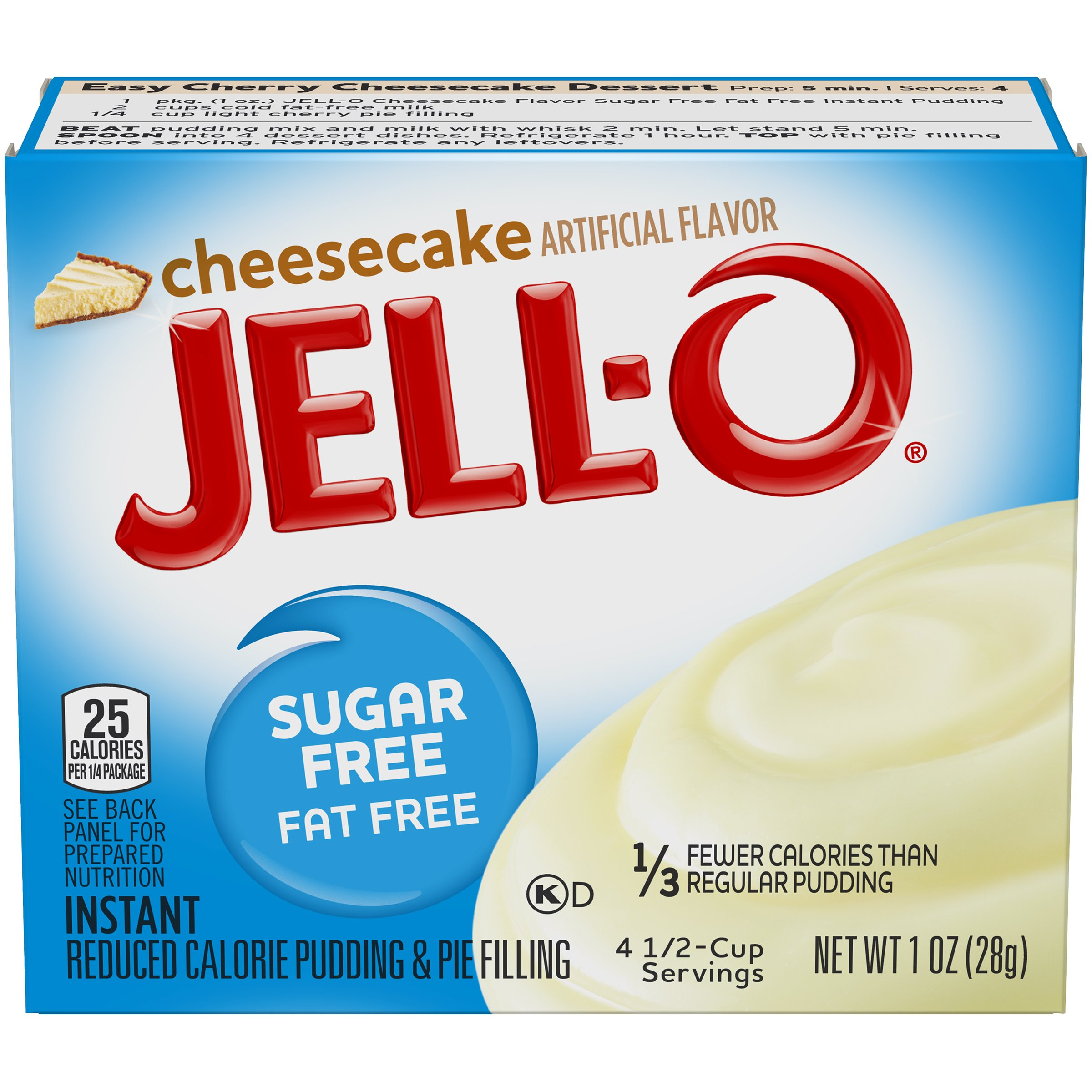 Jell-O Instant Cheesecake Sugar-Free Fat Free Pudding & Pie Filling (1 oz Boxes, Pack of 6)