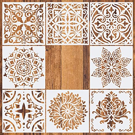Pack of 4 6x6 Laser Cut Painting Stencil Floor Wall Tile Fabric Wood Stencils