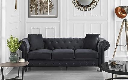 Divano Roma Furniture Classic Velvet Scroll Arm Tufted Button Chesterfield  Sofa (Black)