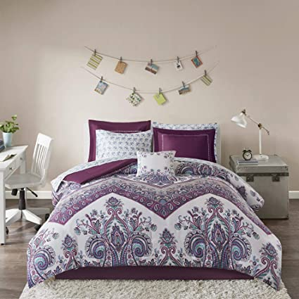 ID U0026 DH Teen Bedding For Girls Comforter Set Full Queen Twin Purple White  Paisley Chevron