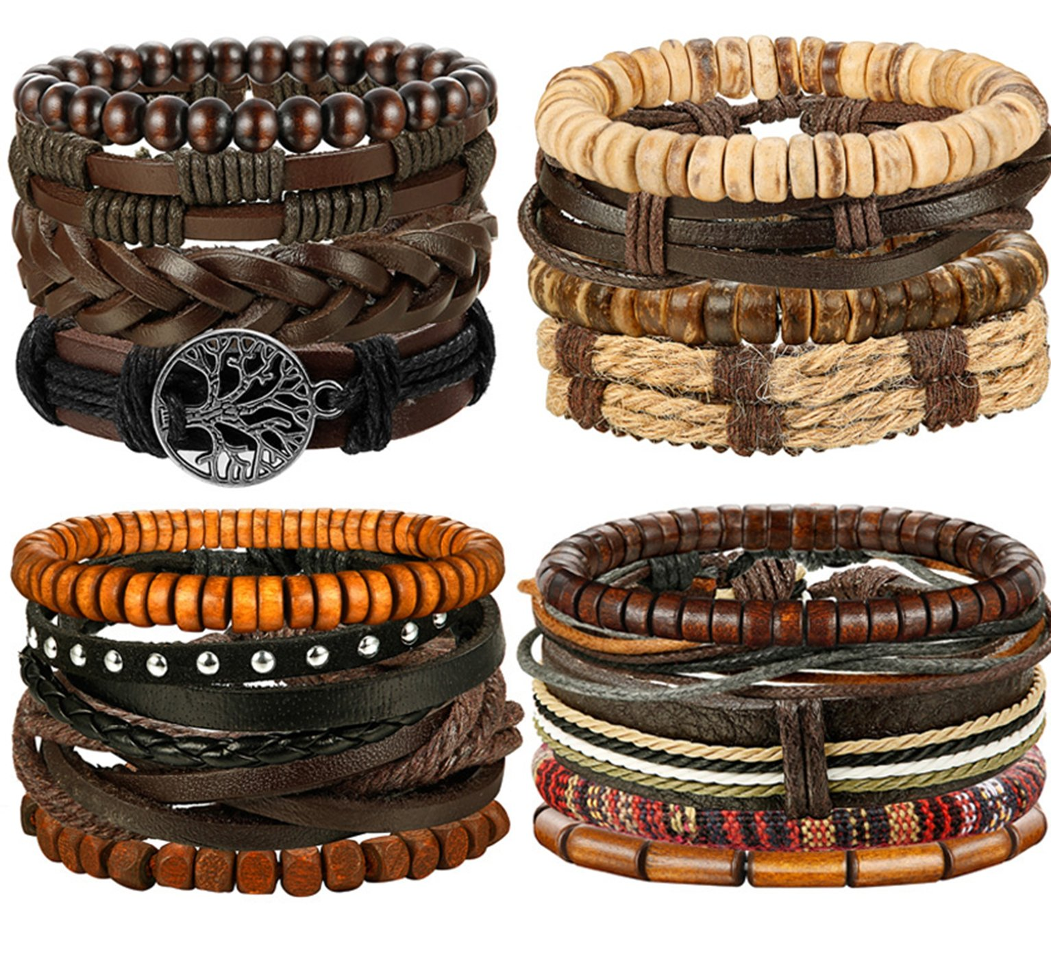FIBO STEEL 17 Pcs Leather Bracelet for Men Women Woven Cuff Bracelet Adjustable
