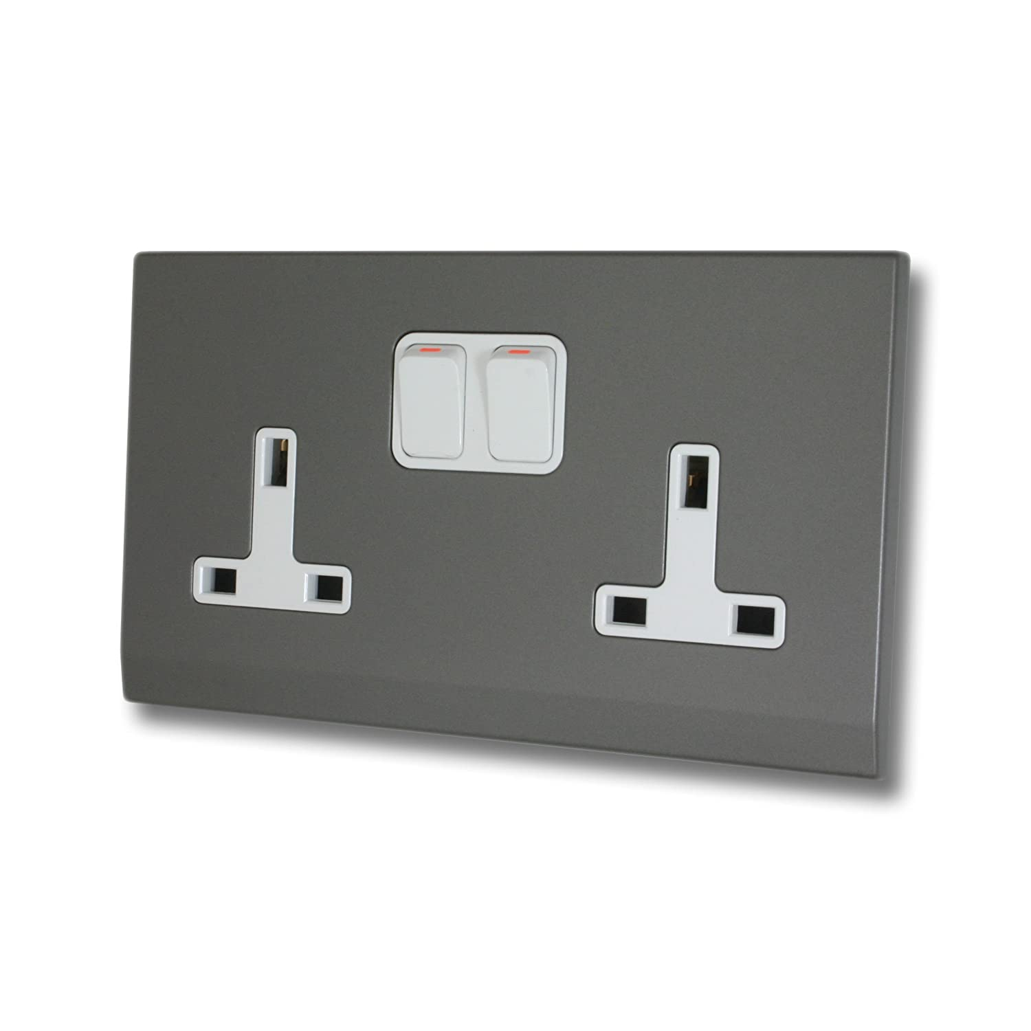 Retrotouch Simplicity 07442 Screwless Mid Grey 13A Double Socket