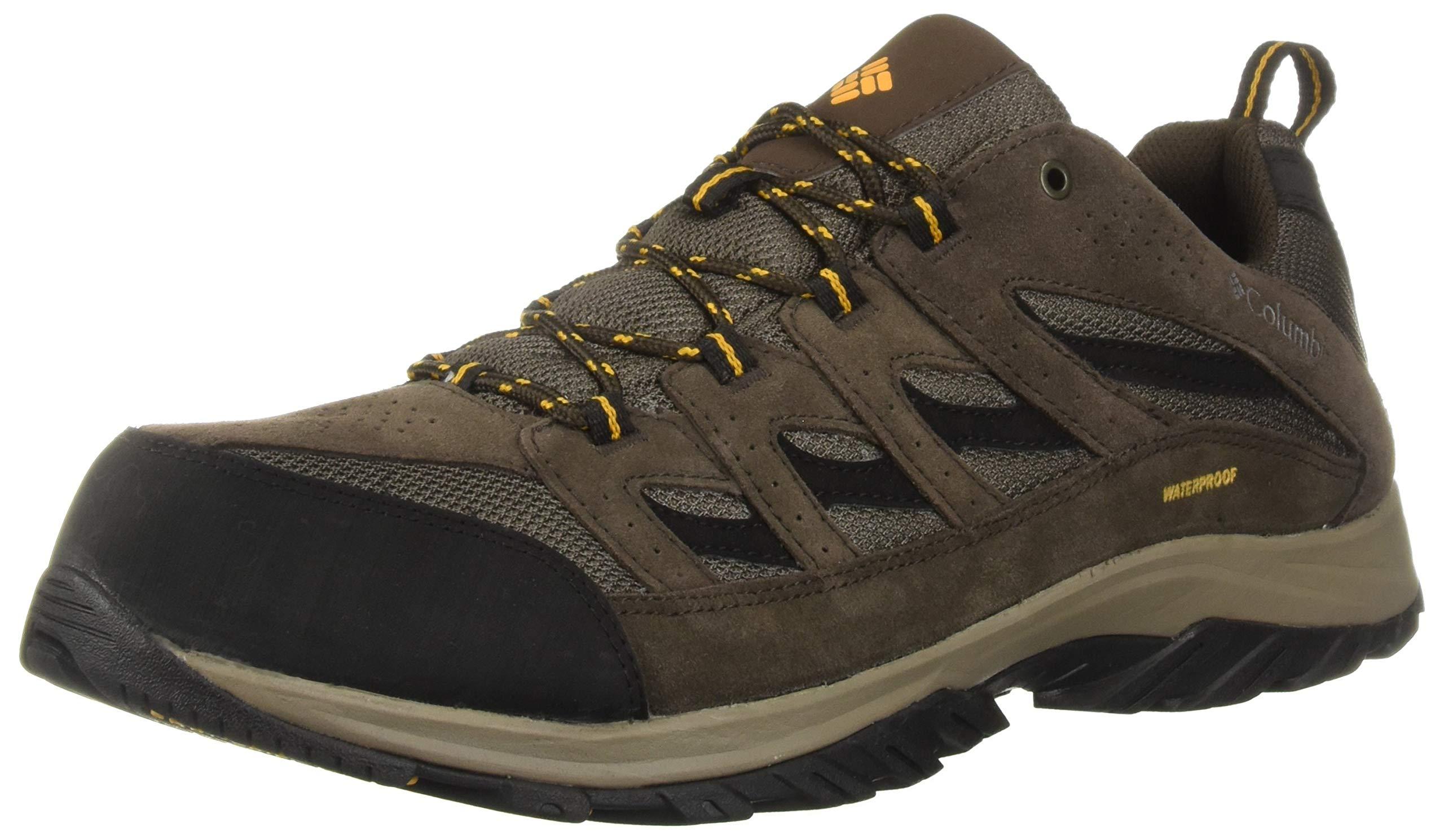 Columbia Men's Crestwood Waterproof Hiking Shoe, mud, Squash, 16 Regular US