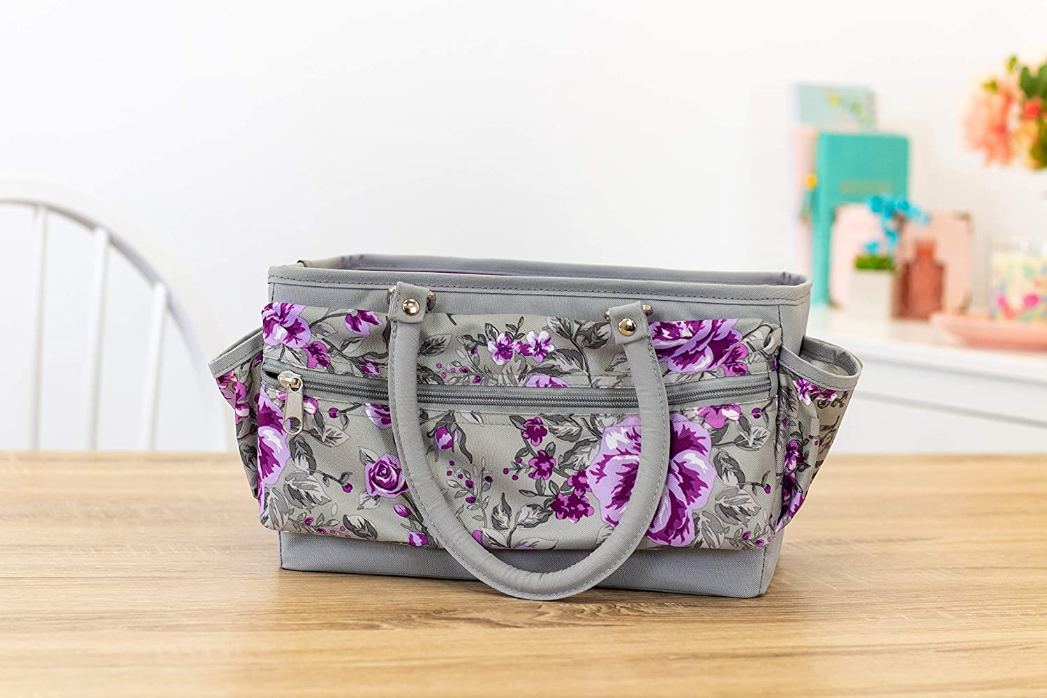One Size Crafters Companion Deluxe Tote Case-Floral Crafting Storage Bag-Grey /& Purple