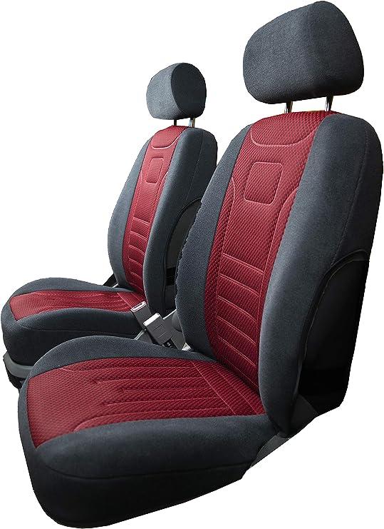 2 vordere Sitzbezüge Schonbezüge rot-schwarz Stoff für Fiat Ford Honda Mazda