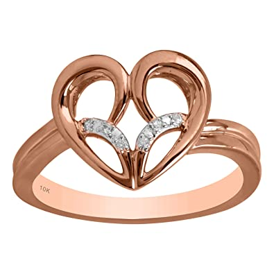 67faa75005150 Amazon.com: Jessica Simpson 10K Rose Gold Diamond Accent Heart Ring ...
