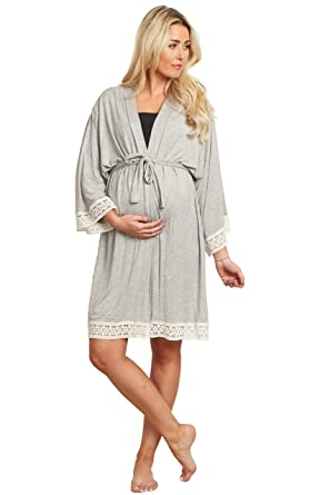 9d5fa789069b0 PinkBlush Maternity Charcoal Crochet Trim Delivery/Nursing Robe at ...