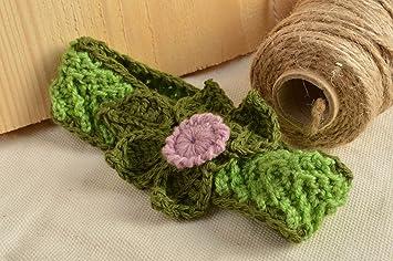 Banda para el pelo con flor tejida a ganchillo verde hecha a mano para nina: Amazon.es: Hogar