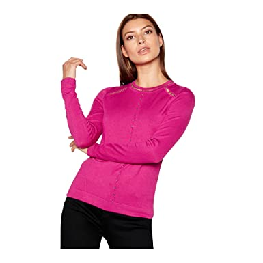 5ee8badc5c8f27 Debenhams Star by Julien Macdonald Womens Bright Pink Beaded Lattice Jumper  10: Star by Julien Macdonald: Amazon.co.uk: Clothing