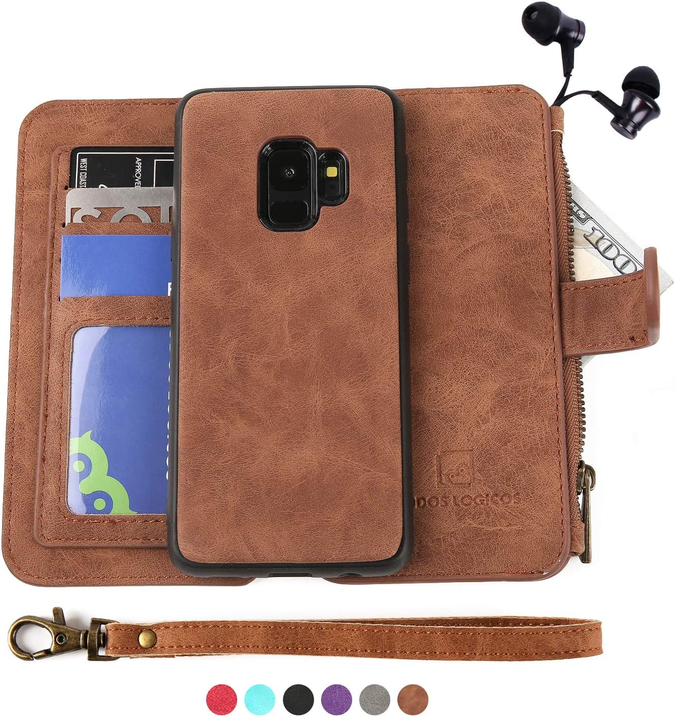 Samsung Galaxy S9 Plus Case, [Detachable Wallet Folio][2 in 1][Zipper Cash Storage][Up to 14 Card Slots 1 Photo Window] PU Leather Purse Clutch with Removable Inner Magnetic TPU Case - Brown