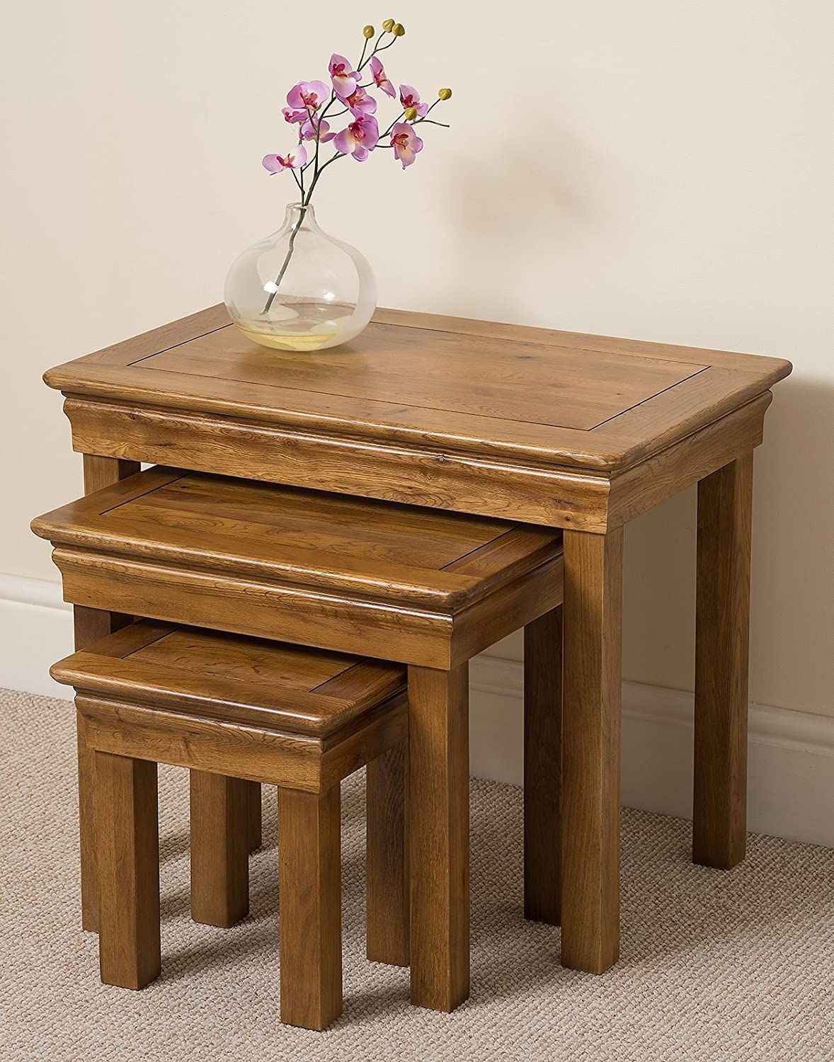 FRENCH RUSTIC SOLID OAK NEST OF SIDE TABLES Amazoncouk - Rustic oak dressing table