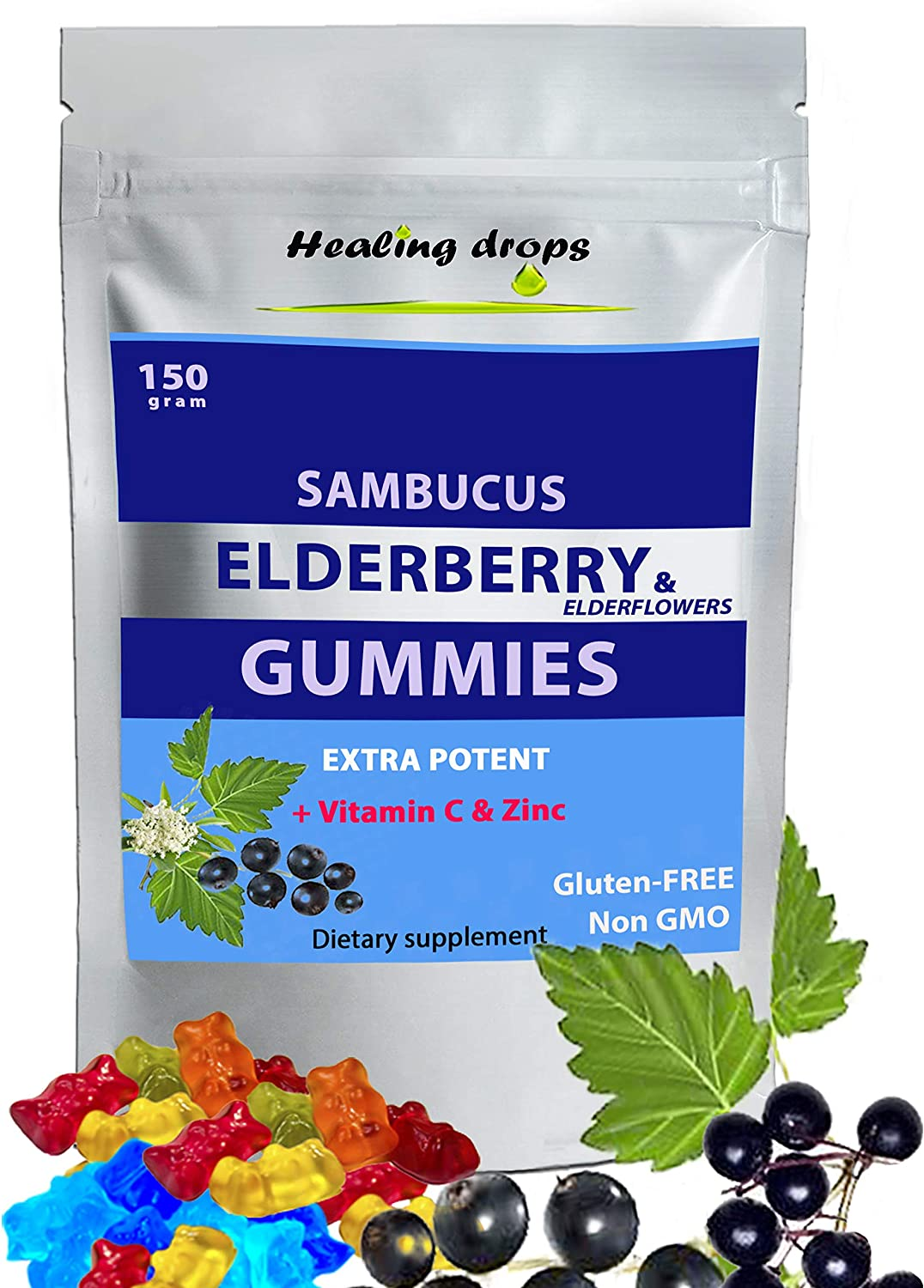 Sambucus Elderberry & Elderflower Gummies Extra Potent Organic Herbal Supplement Rich in Vitamin C and Zinc Gluten Free Non GMO Perfectly Formulated Natural Black Elderberries & Elderflowers