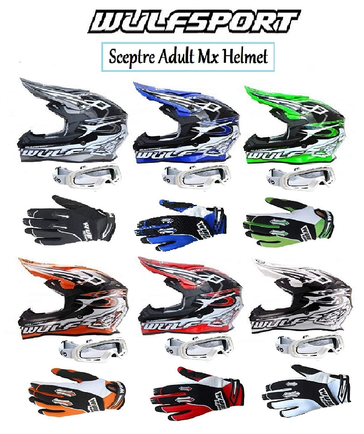 WHITE GOGGLE MOTORBIKE WULFSPORT SCEPTRE ADULT MX HELMET With Motorcycle Off Road Quad PIT ATV Sports Enduro ADULT WULF STRATOS GLOVES