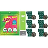 Scotch-Brite Sponge Wipe (5 Pcs) & Steel Ball (Pack of 6) and Scrub Pad (Pack of 6) Combo