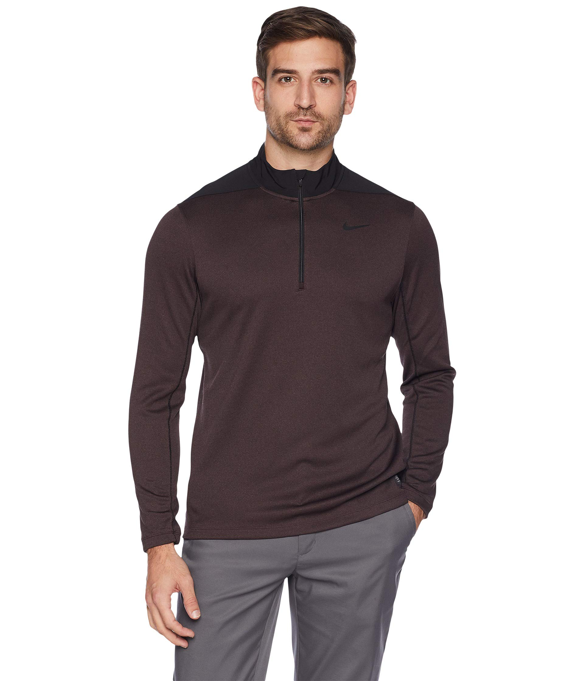 NIKE Dry Top Half Zip Core Golf Pullover 2018 Black/Burgundy Crush Large by Nike