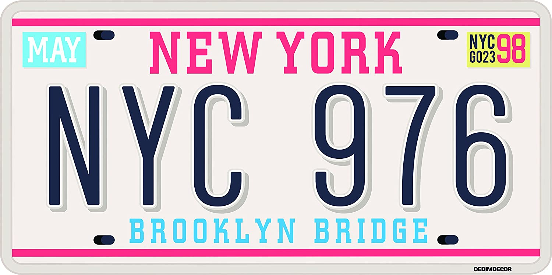 Matricula Decorativa 30,00 cm x 15,00 cm New York | Decoración Pared | Aluminio 3 mm resistente: Amazon.es: Hogar