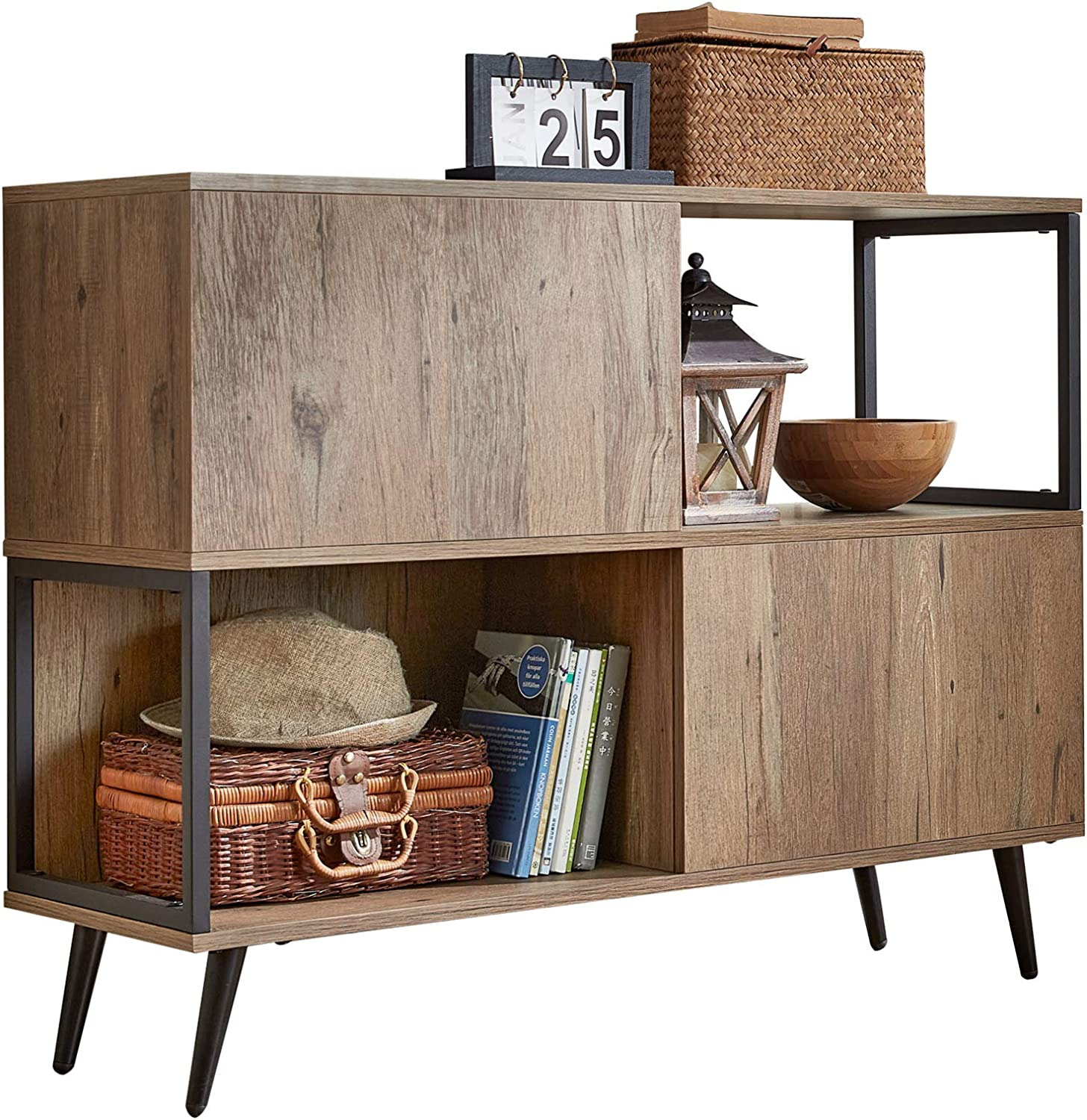 Mid-Century Console Table with Storage, Modern Wood Entryway Console Table with 2 Cabinet Doors Splayed Legs for Living Room, LS212N1-A