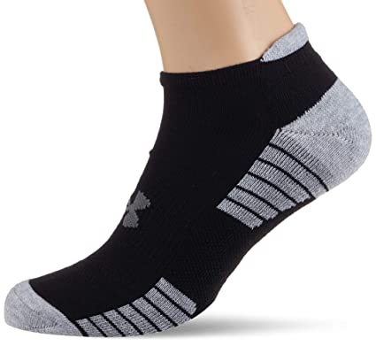 Under Armour Heat Gear Tech No Show Calcetines, Hombre, Negro y Gris, Large