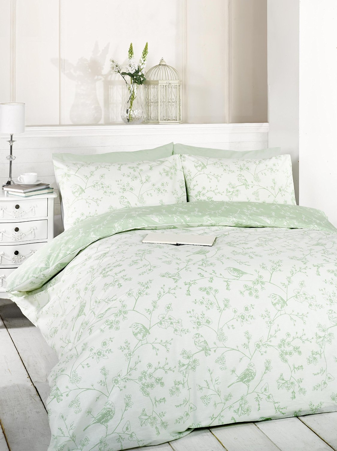 uk green signature set king amazon cover kitchen duvet dp co pillowcase size home toile bird and