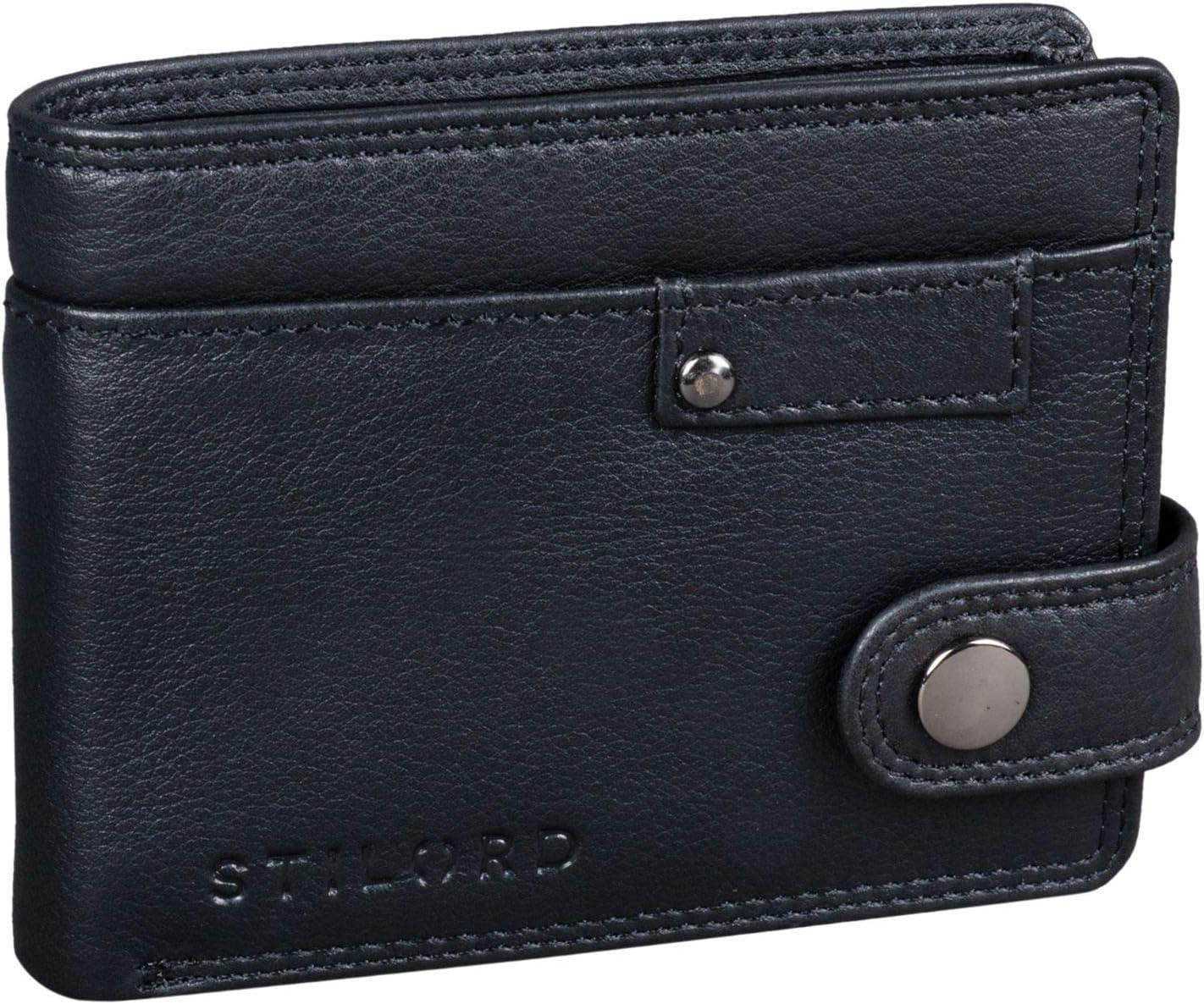 STILORD 'Finley' Cartera de Cuero para Hombres Protección RFID y NFC con Botón Pulsador Billetera con protección, Color:Negro
