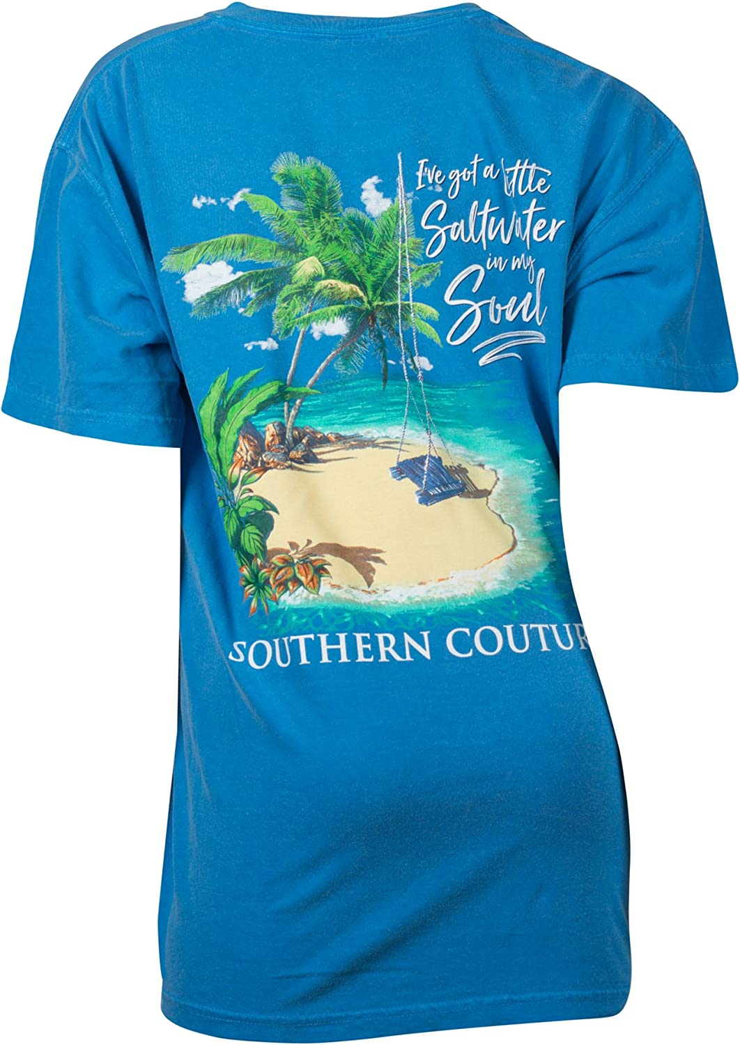 Southern Couture SC Comfort I've Got A Little Saltwater in My Soul Classic Fit Adult T-Shirt - Royal Caribe