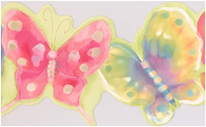 Colorful Butterflies Electric Green Wallpaper Border For Kids Roll
