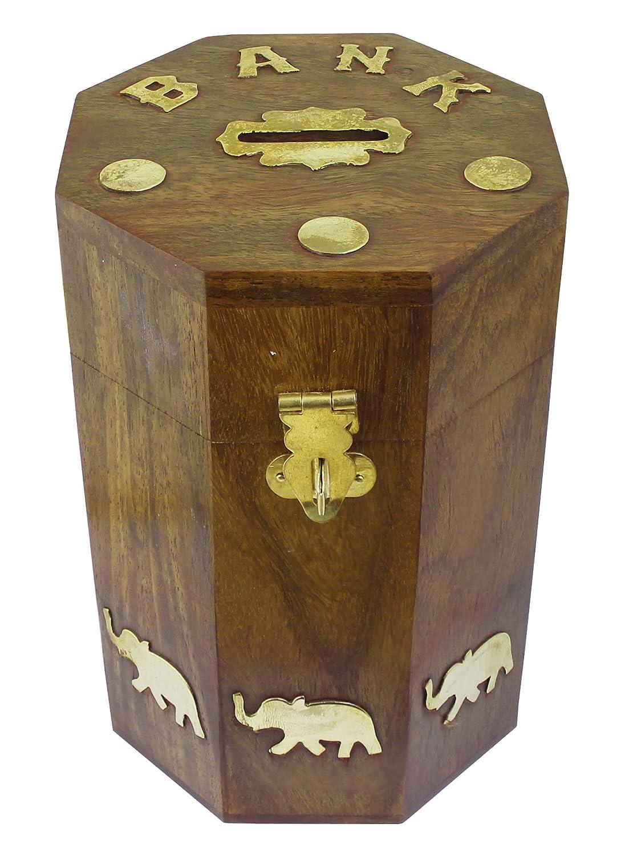 Wood money bank elephant brass inlay barrel coin handmade for Handmade coin bank