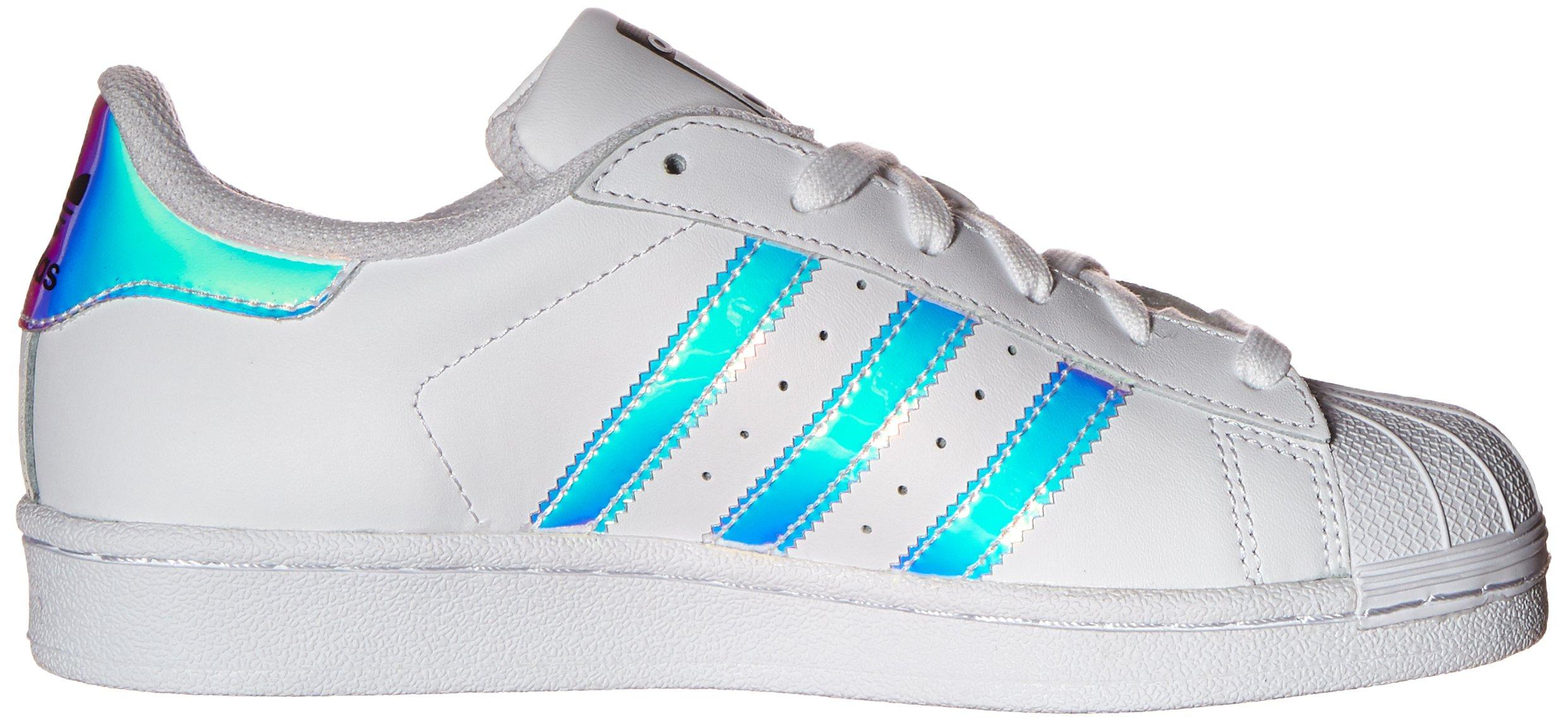 adidas Originals Kid's Superstar J Shoe, White/White/Metallic Silver, 4 M US Big Kid by adidas Originals (Image #7)