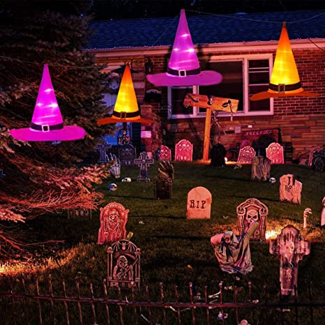 Glowing Witch Hat 5 Pack with Hook Halloween Decorations Hanging Lighted Glowing Witch Hats Lights
