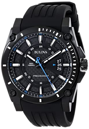 9d41ddeba Bulova Men's 98B142 Precisionist Black Stainless Steel Watch With Black  Rubber Band
