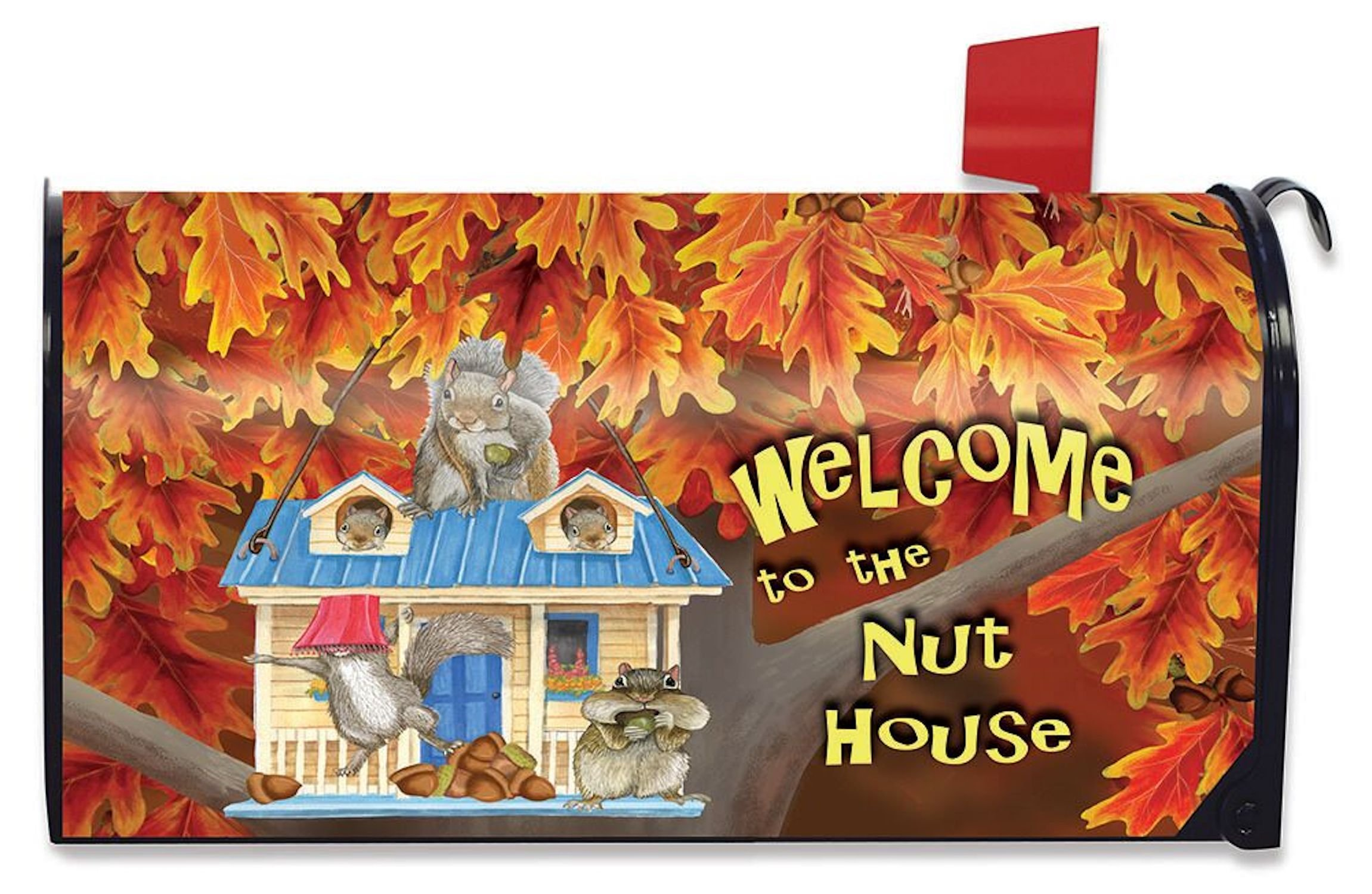 Briarwood Lane Welcome to the Nuthouse Fall Magnetic Mailbox Cover Squirrels Humor Standard