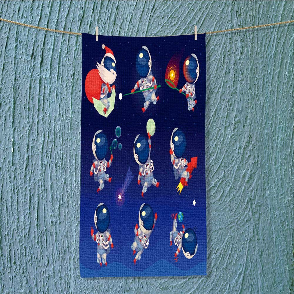 L-QN shower towel set of cute astronauts in space working playing games and having Easy care machine wash w13.8 x H27.5 INCH