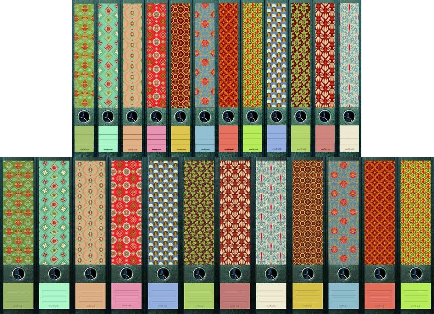 'File Art–Design etichette per raccoglitori, motivo Pattern per 12di larghezza + 12sottile raccoglitore come da collezione di A-M W Shop