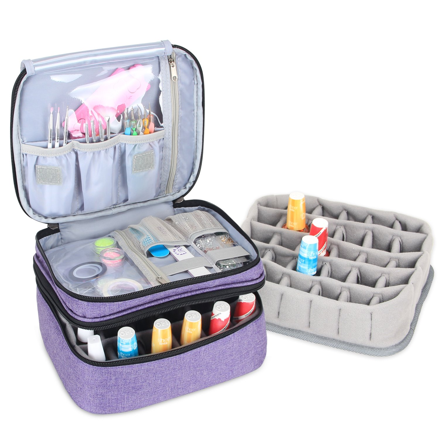 Luxja Nail Polish Carrying Case, Portable Nail Polish Organizer Holds 30 Bottles, Double-layer Organizer Holders for Nail Polish and Manicure Set, Black
