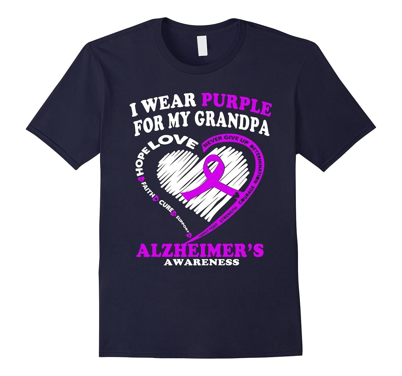 Alzheimers Awareness Shirt - I Wear Purple For My Grandpa-Vaci