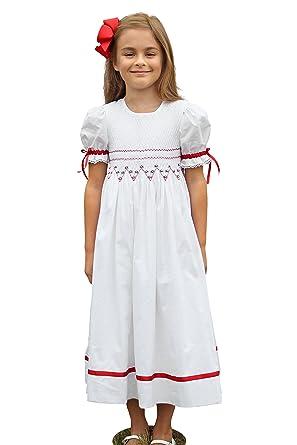 strasburg children smocked christmas dresses girls red white size 3t to 8 holiday flower girl dress - White Christmas Dress