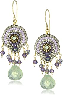 product image for Miguel Ases Green Rutilated Quartz Stone Drop Earrings