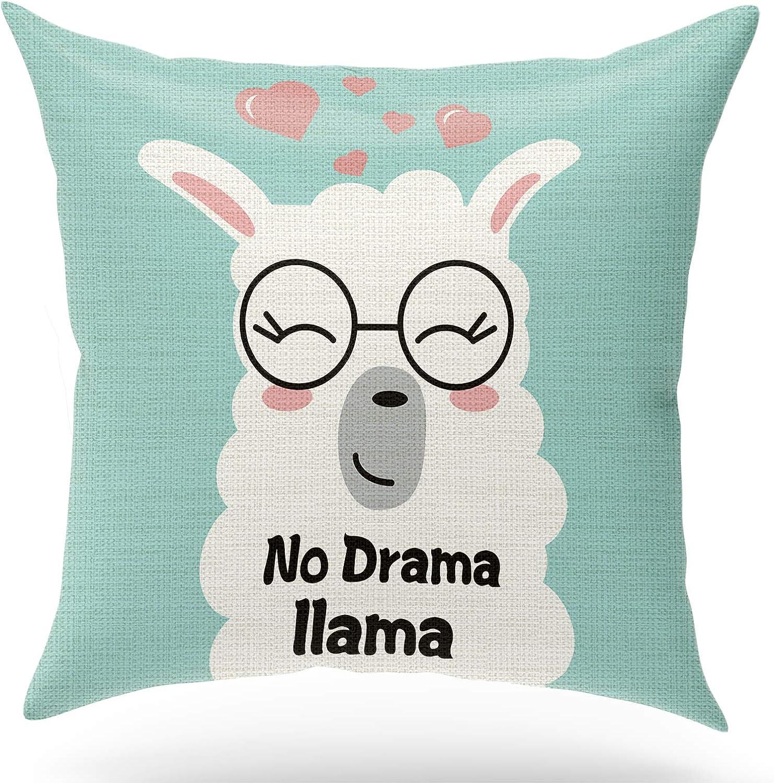 KongMoTree Inspirational Gifts Llama for Decorative Pillow Covers Case,No Drama Llama,Cute Bedroom Decor,Home Decor Farmhouse D?or, Linen Throw Pillow Cover 18x18 inch