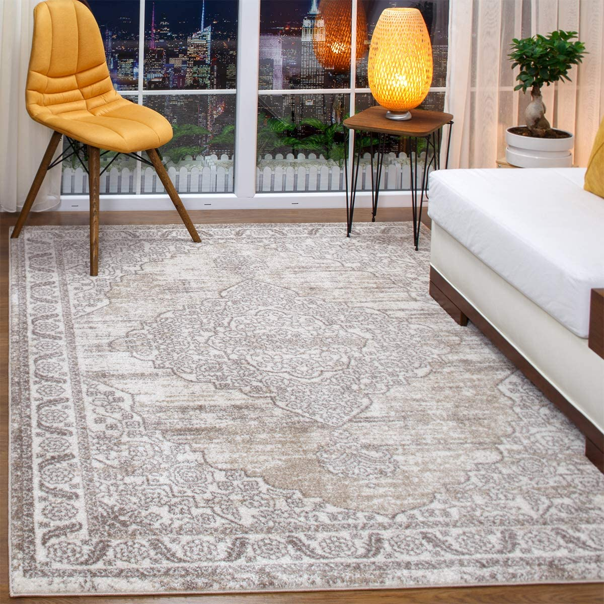 Antep Rugs Florida Collection Distressed Medallion Polypropylene Indoor Area Rug Beige, 8 x 10