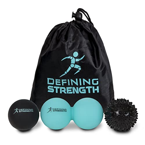 Top 3 Massage Balls Set, Spiky & Lacrosse ball, Peanut Muscle Roller Massager. Ideal for Myofascial Release, Trigger Point, Acupressure, Plantar Fasciitis, Reflexology Stress for Physio, Pilates, Exercise, Sports, Back, Legs & Feet