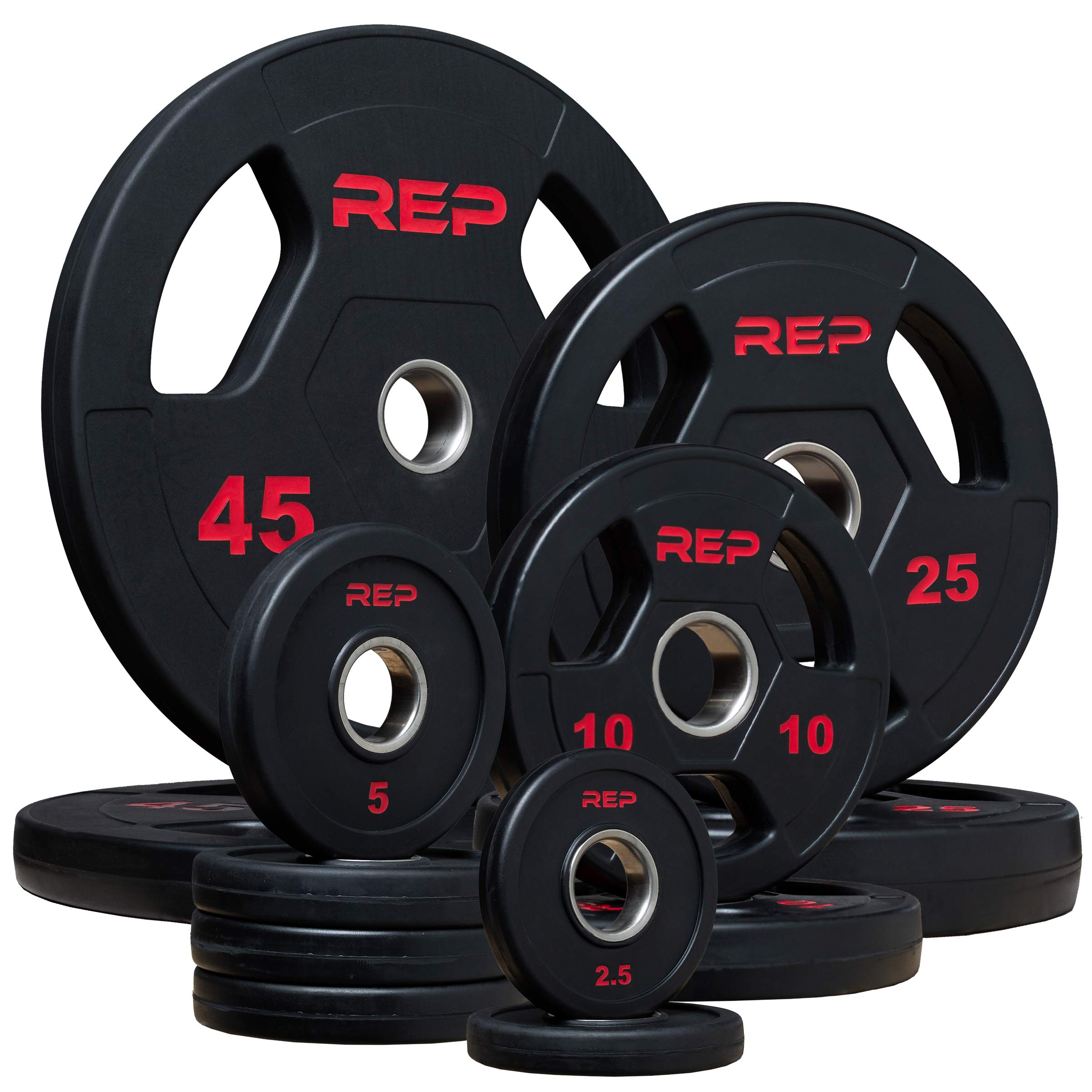 Rep Rubber Coated Olympic Plates - 185lb Set