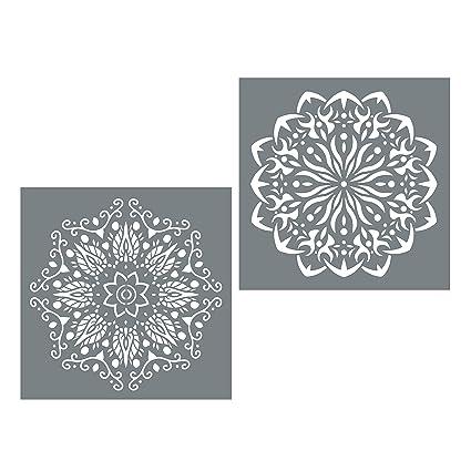 49e7b3ba5070b Large Mandala Stencil Set - 2 Reusable Mandala Stencils - Stencil Mandala  Shapes on Walls