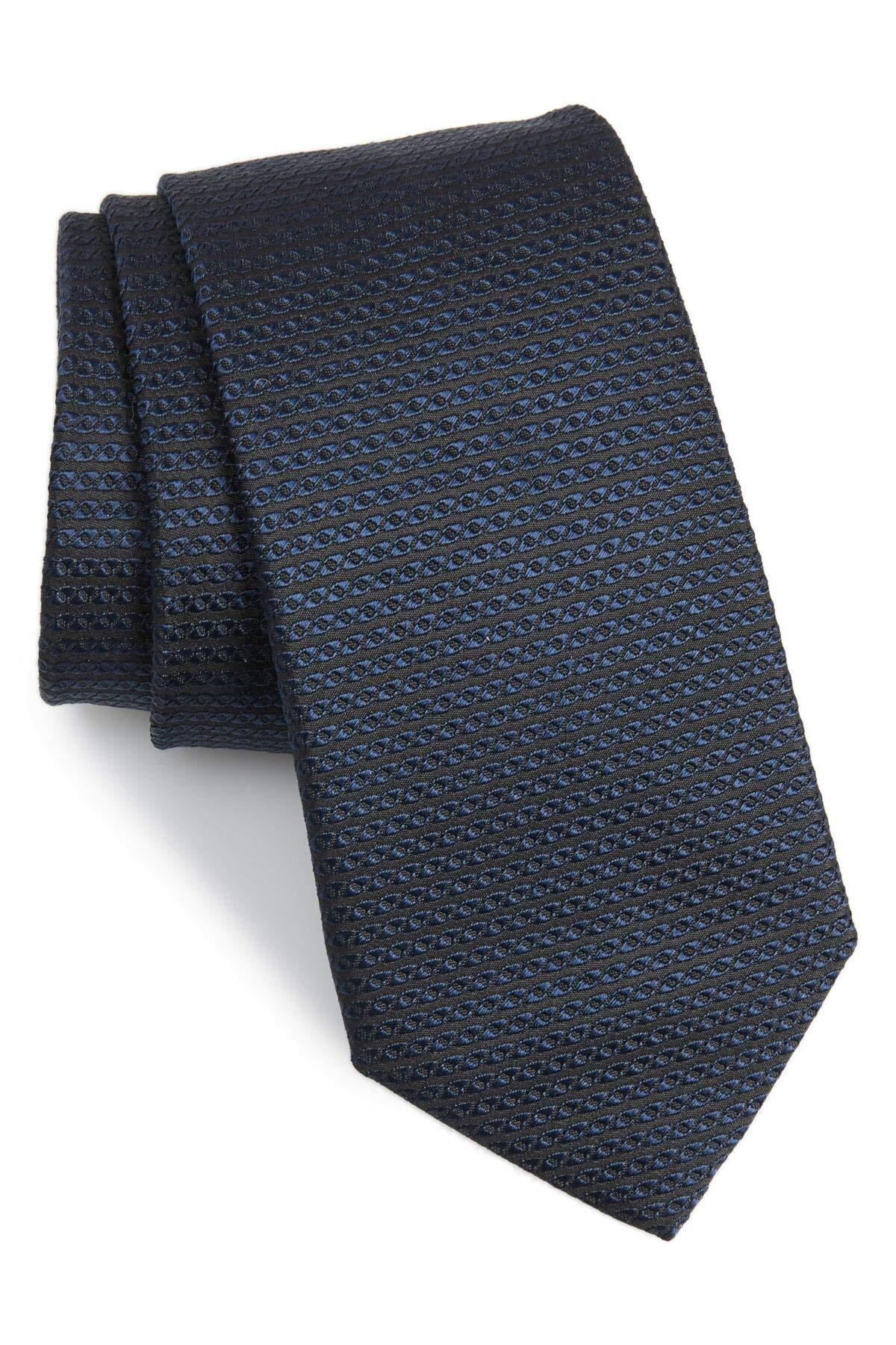 Hugo Boss Textured Woven Italian Silk Tie, Dark Blue 50397330