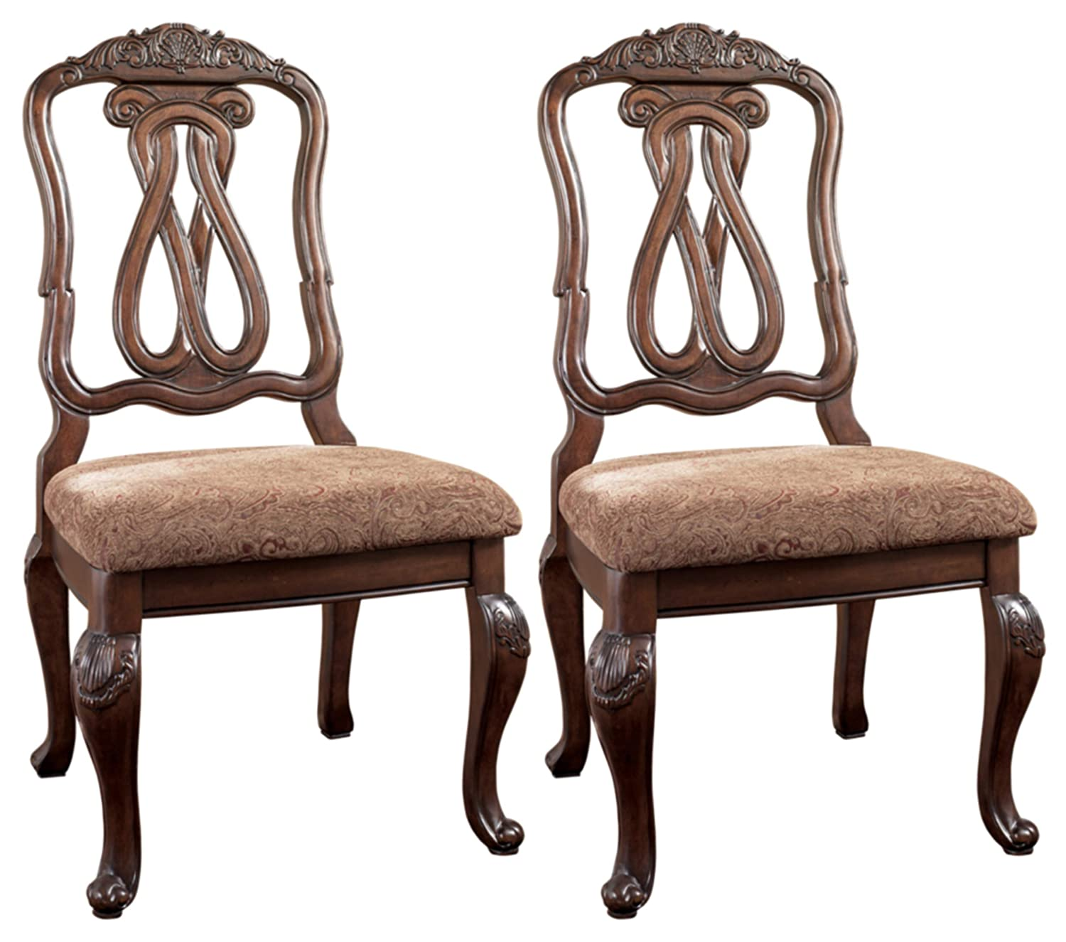 Signature Design By Ashley – North Shore Dining Upholstered Side Chair – Set of 2 – Traditional Style – Dark Brown
