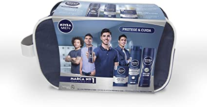 NIVEA MEN Protege & Cuida neceser set de baño, cuidado con el kit de regalo para hombre, caja de regalo con antitranspirante, espuma para afeitar y after shave: Amazon.es: Belleza