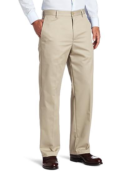 IZOD Men's American Chino Flat Front Straight-Fit Pant, Khaki, 34W x 29L